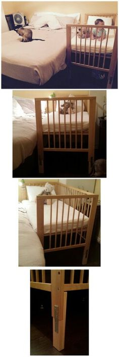 Ikea cot hack, I used simple hardware from bunnings to raise this cot 20 cm to match the height of our bed. Now we can use it as a side co - sleeper.