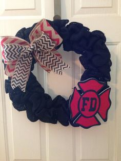 Fire Department Burlap Wreath