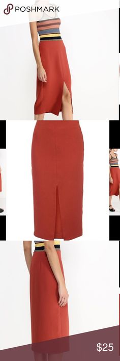 Topshop crepe midi skirt Rust orange midi skirt, perfect condition. High waist. Crepe fabric overlay with silky lining. Invisible zip. US size 4 Topshop Skirts Midi