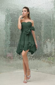Hunter Green Princess A-line Backless Chiffon Short Party Dresses (Style D65369)