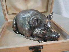 RAREFABERGE Sterling Silver Pig Boar Diamond Eyes