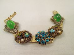 Ornate Panel Bracelet/Green Glass Rhinestone by VintageBADTIQUE