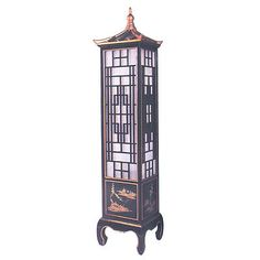 Lacquered Wooden Chinese Pagoda Lamp   Oriental Furnishings