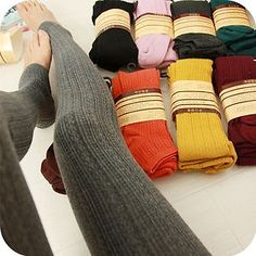 Colored and patterned sweater leggings. I WANT THEM ALL......