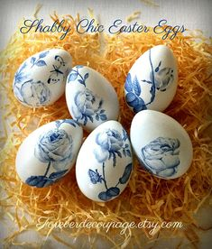 Decoupage easter eggs shabby chic blue roses decor hand