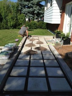 Our DIY Front Path Makeover on a Budget - ZenShmen Project Curb Appeal, Flagstone, Pavers, River Rock, Landscaping, Hardscaping #LandscapingEdging