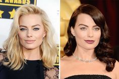 When we first laid our eyes on the blonde beauty Margot Robbie opposite Leonardo Dicaprio in The Wolf of Wall Street, we never though she's show up to represent the film at the Oscars as a dark brunette.