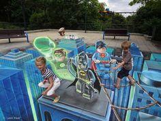 sidewalk chalk art   Superhero sidewalk chalk art - Rock 94.7 - WOZZ Wausau, Stevens Point ...