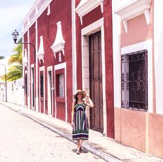 C O L O R S  O F  T H E  R A I N B O W  Throwback to my holidays in Mexico  We had a wonderful time in Yucatan and this picture taken in Valladolid brings back beautiful memories: the colorful housings and the peaceful atmosphere the sun and the warm temperatures...I will definetly return someday  . . //PR SAMPLE / WERBUNG // The green striped dress from @zaful I'm wearing is the perfect summer midi dress and goes so well with a straw hat  . . . #berriesinthesnow #summer #vacation #travel…