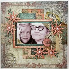 heritage layout by Lori Williams... Lori as a young girl with her great grandmother.... gorgeous and colorful page