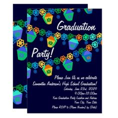 #modern - #Blue Lanterns Luau Graduation Party Invitation