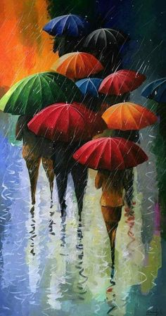 walking in the rain Umbrella Painting, Umbrella Art, Fine Art, Beautiful Paintings, Painting Inspiration, Art Pictures, Photos, Painting & Drawing, Watercolor Paintings