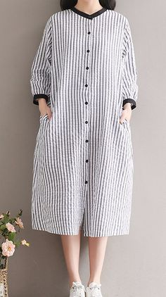 Women loose fit over plus size stripes linen dress button up skirt blouse skirt Blouse And Skirt, Shirt Skirt, Trendy Dresses, Simple Dresses, Casual Skirt Outfits, Casual Dresses, Button Up Skirts, Hijab Style, Mode Blog