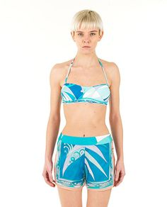 Print shorts Capri side slits button closure on the side  100% SE