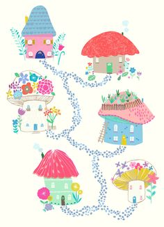 Mounted Nursery Wall Art Print Mushroom Village by GenineDelahaye