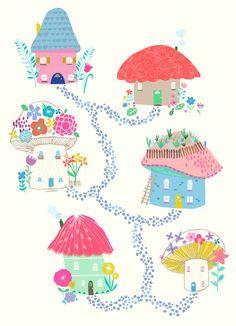 Mounted Nursery Wall Art Print Mushroom Village by GenineDelahaye