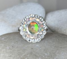 Art Deco Opal Engagement Ring Statement Opal Multistone by Belesas