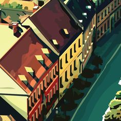 view from wroclaw cathedral. poland. vector drawing. detail.