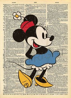 Minnie Mouse Dictionary Art Print by AmourPrints on Etsy Vintage Disney Art, Retro Disney, Disney Fan Art, Disney Love, Disney Mickey, Arte Do Mickey Mouse, Mickey Mouse Images, Mickey Mouse And Friends, Minnie Mouse