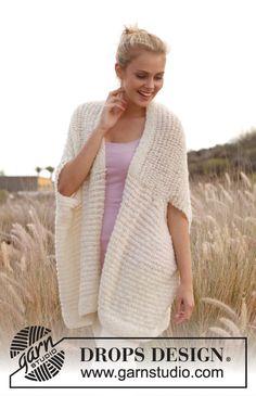 "Free pattern: Knitted DROPS vest - jacket in ""Alpaca Bouclé"" and ""Lace"". Size: S - XXXL. ~ #DROPSDesign #Garnstduio"