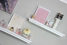 I love the diy picture frames. Glitter paper is from Micheals craft store. She also used the frames as a tray to put stuff on like perfumes etc.