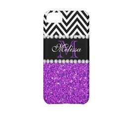 PURPLE GLITTER BLACK CHEVRON MONOGRAMMED Iphone 5c Cover ($44) ❤ liked on Polyvore featuring accessories and tech accessories