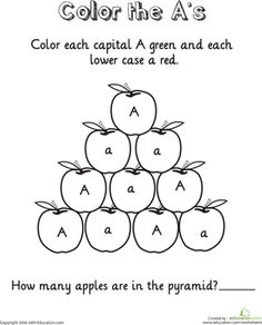 This series of worksheets will give your child practice with uppercase and lowercase letters, challenge her counting skills, and provide her with some fun scenes to color. Preschool Letters, Preschool At Home, Learning Letters, Fun Learning, Preschool Phonics, Preschool Writing, Teaching Reading, Free Printable Worksheets, Alphabet Worksheets