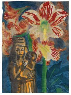 Emil Nolde (1867-1956)  Stillleben mit Amaryllis und Madonnenfigur (1925)  watercolor on handmade Japan paper 46.5 x 34.5 cm