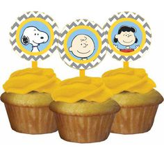 Peanuts Gang Snoopy Birthday Party Cupcake Topper by CardsnLetters