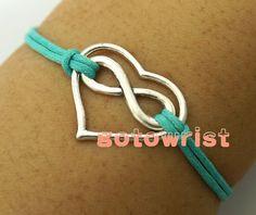 Silver Infinity Heart Bracelet Wax Cords Bracelet by gotowrist, $1.99