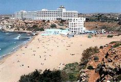 Malta - Golden Sands Hotel in the photo is located at Golden Bay where two fantastic bays Ghajn and Golden Bay lie back to back.