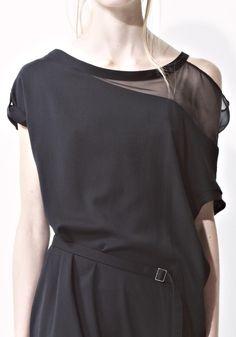 Black asymmetrical dress, contemporary fashion details // Yohji Yamamoto