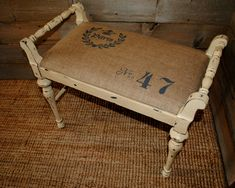 Stenciled Burlap Bench done in CeCe Caldwell Omaha Ochre and Vermont Slate.