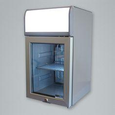 capacity cooler with back-lit LED header display and interior LED lighting. Merchandising Displays, Coolers, Aspen, Glass Door, Header, Bathroom Medicine Cabinet, Countertops, Led, Lighting