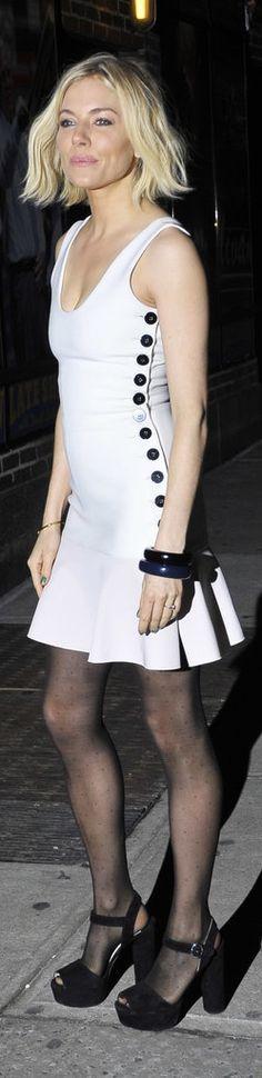 Sienna Miller Opted For a Button-Adorned Victoria Beckham Minidress