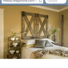 Cowgirl bedroom headboard-make These look like barn dooRs