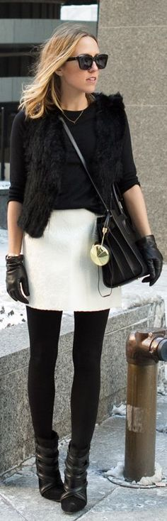 Cute reversal of normal blk/white combos with white skirt on the bottom instead of the usual black.