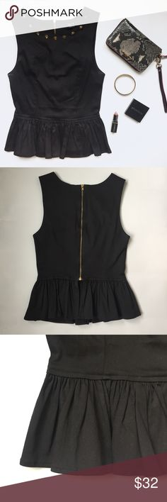 LF Studded Peplum Tank LF x Paper Heart black peplum top with gold studded neckline. Gold zipper up the back. Great slimming material that sucks you in! AUS size 6, fits like an XS/S. LF Tops Tank Tops