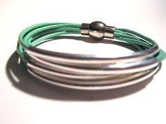 Mint Leather Cuff Bracelet with Silver or Gold by wrapsbyrenzel, $15.99