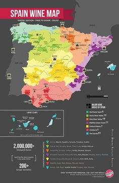"""Spain Wine Regions Map,"" by Wine Folly -- ""Spain is a very diverse country so it helps to get a lay of the land. This map of the wine regions of Spain helps to put into context the various kinds of wines that grow throughout the country. Bilbao, Alicante, Valencia, Spanish Red Wine, Map Of Spain, Wine Folly, Barolo Wine, Cocktails, Travel Tips"