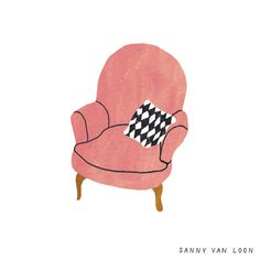 Illustration by Sanny van Loon from the book 'Creative Flow' • www.sannyvanloon.com | pink velvet chair