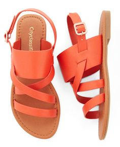 One-Gal Band Sandals in Orange | ModCloth. #summer #shoes