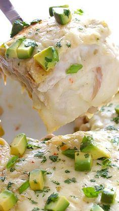 White Chicken Enchilada Casserole- minus the avocado for me.