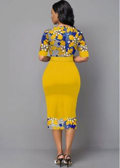 Short African Dresses, Latest African Fashion Dresses, Women's Fashion Dresses, Half Sleeve Dresses, Half Sleeves, Mid Length Dresses, Classy Dress, Yellow Dress, The Dress
