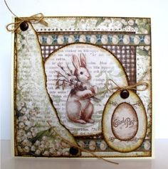 We are back with another article using the gorgeous papers and die cut sheets from This time it is Aija, Donna and me (Jorunn) that have h. Homemade Modern, Bunny Art, Art Journal Pages, I Card, Cardmaking, Easy Cards, Paper Crafts, Easter Card, Easter Decor