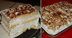 Nejjednodušší a nejlepší nepečené řezy se šlehačkou a banánem. Hotová delikatesa. Mňamka! No Bake Cookies, Vanilla Cake, Tiramisu, Nutella, Sweet Tooth, Cheesecake, Food And Drink, Pie, Sweets