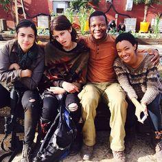 Alanna Masterson, Lauren Cohan, Lawrence Gilliard Jr. & Sonequa Martin-Green, on the set of The Walking Dead