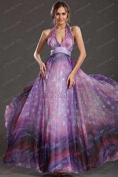 eDressit  Adorable Halter Estampada Tela Vestido de Fiesta Largo