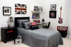Rock and roll british bedroom teen decor