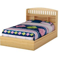 South Shore Popular Full Bed & Bookcase Headboard, Natural Maple